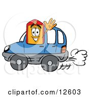 Clipart Picture Of A Price Tag Mascot Cartoon Character Driving A Blue Car And Waving
