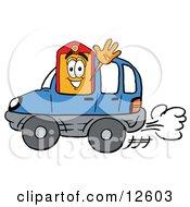 Price Tag Mascot Cartoon Character Driving A Blue Car And Waving