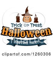 Clipart Of A Jackolantern With Candles And Trick Or Treat Halloween Costume Party Text Royalty Free Vector Illustration