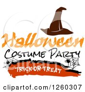 Clipart Of A Witch Hat And Spider Webs With Halloween Costume Party Trick Or Treat Text Royalty Free Vector Illustration