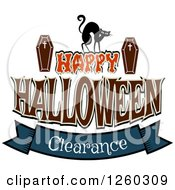 Clipart Of A Cat And Coffins Over Happy Halloween Clearance Sales Text Royalty Free Vector Illustration by Vector Tradition SM