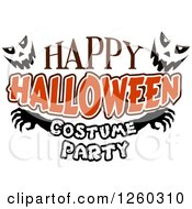 Clipart Of Jackolantern Faces With Happy Halloween Costume Party Text Royalty Free Vector Illustration