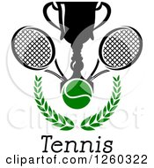 Clipart Of A Trophy Cup With A Tennis Ball And Rackets Over A Laurel Over Text Royalty Free Vector Illustration