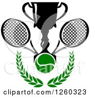 Clipart Of A Trophy Cup With A Tennis Ball And Rackets Over A Laurel Royalty Free Vector Illustration