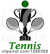 Clipart Of A Trophy Cup With A Tennis Ball And Rackets Over Text Royalty Free Vector Illustration