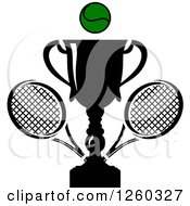 Clipart Of A Trophy Cup With A Tennis Ball And Rackets Royalty Free Vector Illustration
