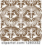 Clipart Of A Seamless Pattern Background Of Brown Vintage Floral Royalty Free Vector Illustration by Seamartini Graphics