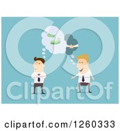 Clipart Of Businessmen Thinking About Forming A Partnership Royalty Free Vector Illustration