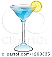 Clipart Of A Blue Cocktail Royalty Free Vector Illustration by Vector Tradition SM