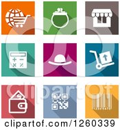 Clipart Of Square Colorful Internet Shopping And Finance Icons Royalty Free Vector Illustration by Vector Tradition SM