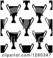 Clipart Of A Seamless Black And White Pattern Of Trophy Cups Royalty Free Vector Illustration