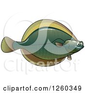 Clipart Of A Happy Flounder Fish Royalty Free Vector Illustration by Vector Tradition SM