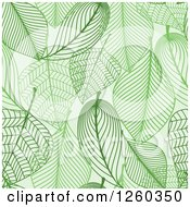 Clipart Of A Seamless Background Pattern Of Green Skeleton Leaves Royalty Free Vector Illustration by Vector Tradition SM