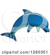 Clipart Of A Blue Dolphin Jumping Royalty Free Vector Illustration by Vector Tradition SM