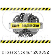 Clipart Of A 3d Under Construction Banner Over Gears And Hazard Stripes Royalty Free Vector Illustration by Vector Tradition SM