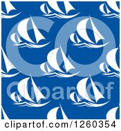 Clipart Of A Seamless Background Pattern Of Sailboats Royalty Free Vector Illustration
