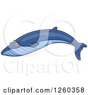 Clipart Of A Swimming Blue Whale Royalty Free Vector Illustration