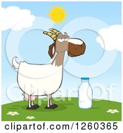 Clipart Of A Red And White Female Boer Goat Doe With A Milk Bottle On A Hill Royalty Free Vector Illustration by Hit Toon