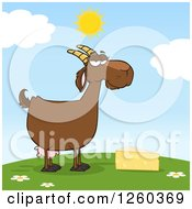 Clipart Of A Red Female Boer Goat Doe With Cheese On A Hill Royalty Free Vector Illustration by Hit Toon