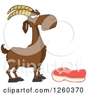 Clipart Of A Red Male Boer Goat Wether By A Chevon Steak Royalty Free Vector Illustration by Hit Toon