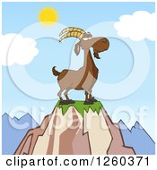 Clipart Of A Red Male Boer Goat Buck With A Goatee On Top Of A Mountain Royalty Free Vector Illustration by Hit Toon