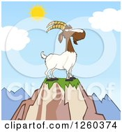 Clipart Of A Red And White Male Boer Goat Buck With A Goatee On Top Of A Mountain Royalty Free Vector Illustration by Hit Toon