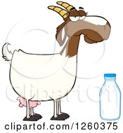 Clipart Of A Red And White Female Boer Goat Doe With A Milk Bottle Royalty Free Vector Illustration