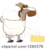 Clipart Of A Red And White Female Boer Goat Doe With Cheese Royalty Free Vector Illustration by Hit Toon