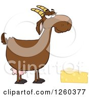 Clipart Of A Red Female Boer Goat Doe With Cheese Royalty Free Vector Illustration by Hit Toon