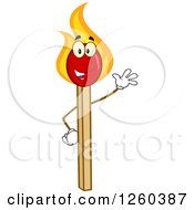 Clipart Of A Friendly Waving Burning Match Stick Character Royalty Free Vector Illustration