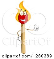 Clipart Of A Happy Burning Match Stick Character Giving A Thumb Up Royalty Free Vector Illustration