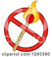 Clipart Of A Lit Match Stick In A Prohibited Symbol Royalty Free Vector Illustration