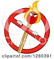 Clipart Of A Mad Lit Match Stick Character In A Prohibited Symbol Royalty Free Vector Illustration by Hit Toon