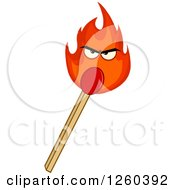 Clipart Of A Burning Match Stick Character Royalty Free Vector Illustration