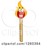 Clipart Of A Happy Burning Match Stick Character Royalty Free Vector Illustration