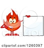 Clipart Of A Happy Fireball Flame Character Pointing To A Blank Sign Royalty Free Vector Illustration