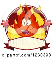 Clipart Of A Label Of A Happy Fireball Flame Character With Open Arms Royalty Free Vector Illustration