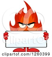 Clipart Of A Grinning Evil Fireball Flame Character Holding A Blank Sign Royalty Free Vector Illustration