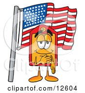 Price Tag Mascot Cartoon Character Pledging Allegiance To An American Flag