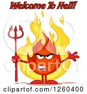 Welcome To Hell Text Over An Evil Fireball Flame Character Holding A Pitchfork