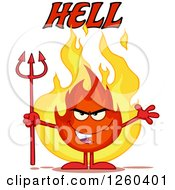 Clipart Of Hell Text Over An Evil Fireball Flame Character Holding A Pitchfork Royalty Free Vector Illustration by Hit Toon