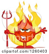 Grinning Evil Fireball Flame Character Holding A Pitchfork