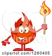 Clipart Of A Happy Fireball Flame Character Holding A Match Royalty Free Vector Illustration