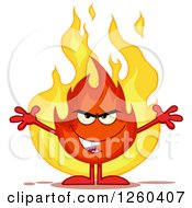 Clipart Of A Grinning Evil Fireball Flame Character With Open Arms Royalty Free Vector Illustration