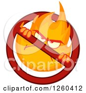 Clipart Of A Mad Fireball Flame Character In A Prohibited Symbol Royalty Free Vector Illustration by Hit Toon