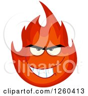 Clipart Of A Grinning Evil Fireball Flame Character Royalty Free Vector Illustration
