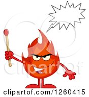 Clipart Of A Grinning Evil Fireball Flame Character Talking And Holding A Match Royalty Free Vector Illustration