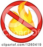 Clipart Of A Fire In A Prohibited Symbol Royalty Free Vector Illustration by Hit Toon