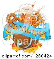 Clipart Of A Beer Keg Mug Wheat And Soft Pretzel With An Oktoberfest Banner Royalty Free Vector Illustration