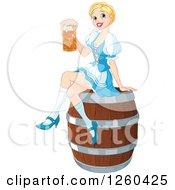 Happy Blond Oktoberfest Beer Maiden Woman Sitting On A Keg Barrel